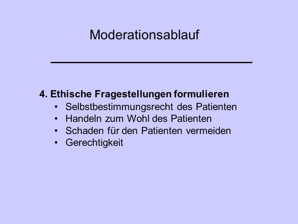 Moderationsablauf 4. Ethische Fragestellungen formulieren