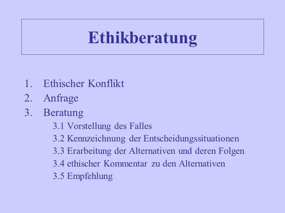 Ethikberatung Ethischer Konflikt Anfrage Beratung