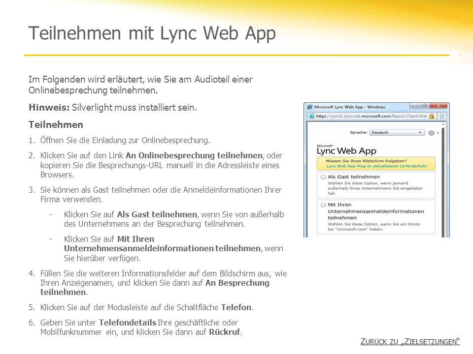 Teilnehmen mit Lync Web App