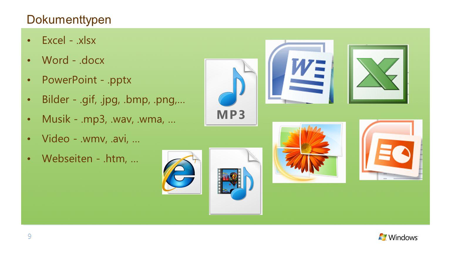 Dokumenttypen Excel - .xlsx Word - .docx PowerPoint - .pptx