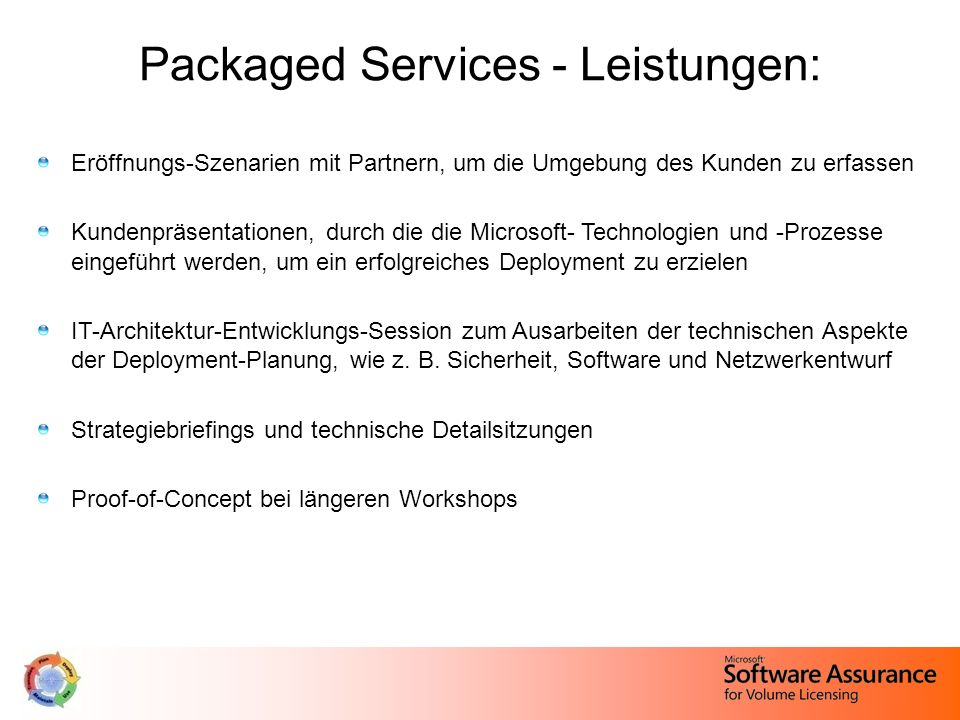 Packaged Services - Leistungen: