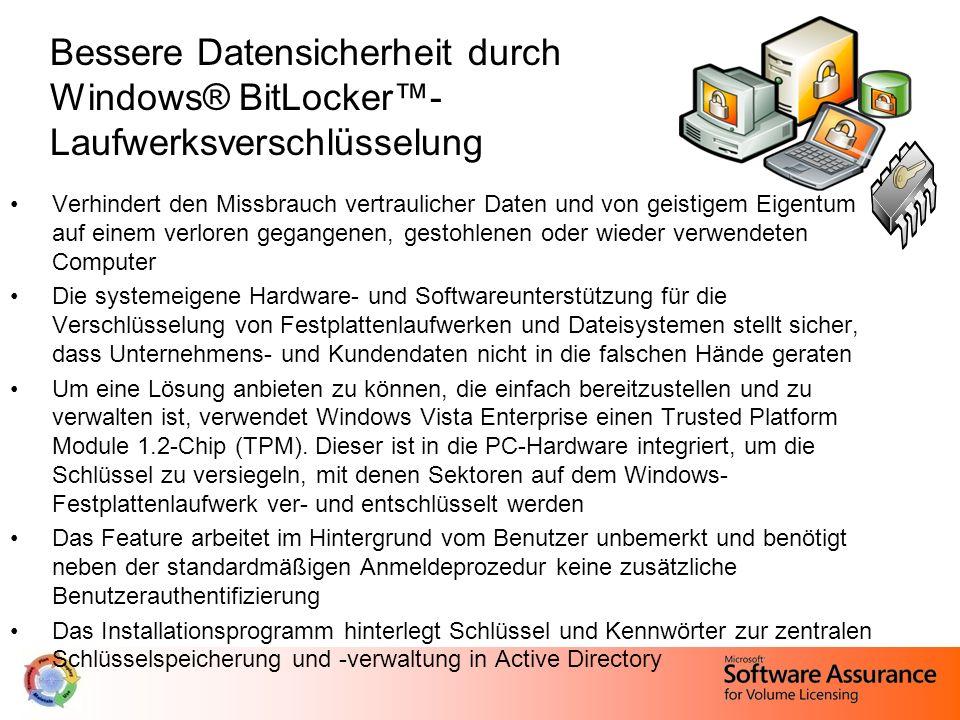 Bessere Datensicherheit durch Windows® BitLocker™- Laufwerksverschlüsselung