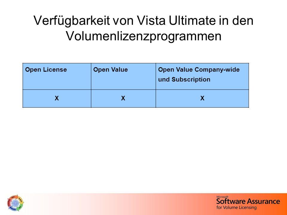 Verfügbarkeit von Vista Ultimate in den Volumenlizenzprogrammen