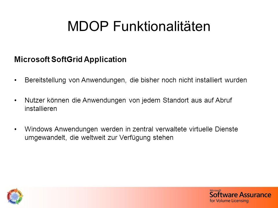 MDOP Funktionalitäten