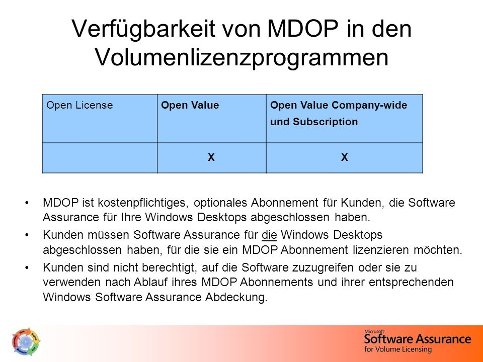 Verfügbarkeit von MDOP in den Volumenlizenzprogrammen