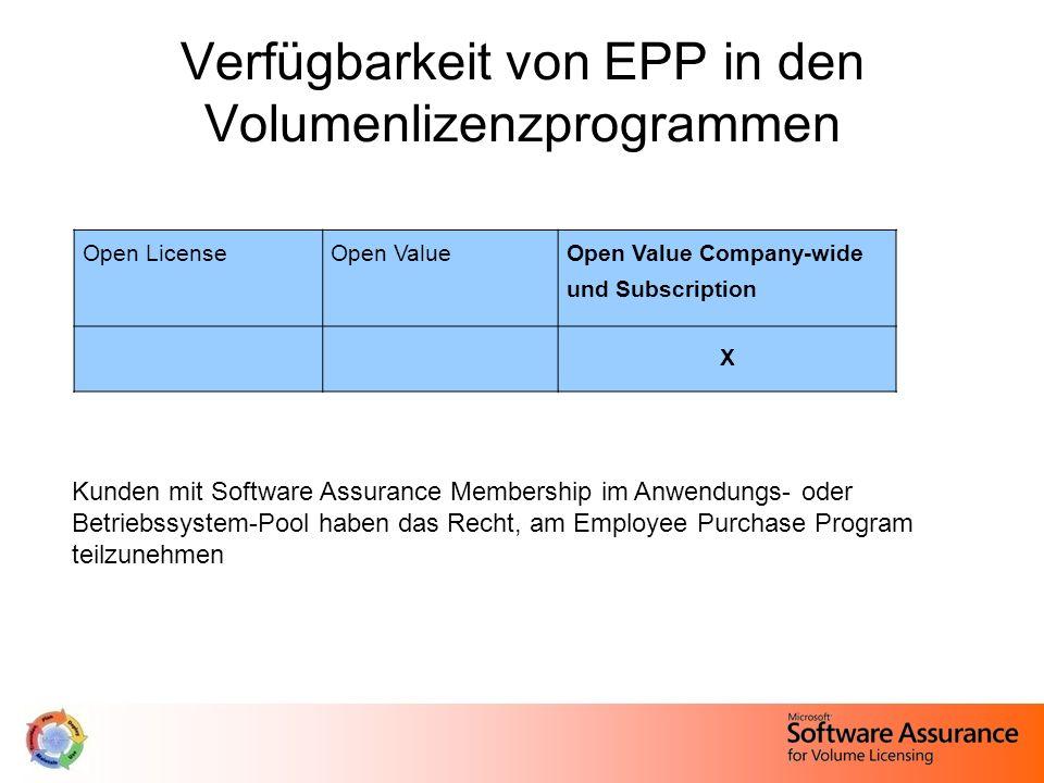 Verfügbarkeit von EPP in den Volumenlizenzprogrammen