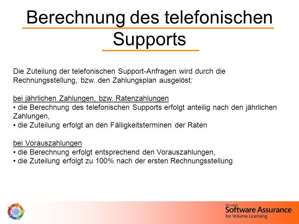 Berechnung des telefonischen Supports