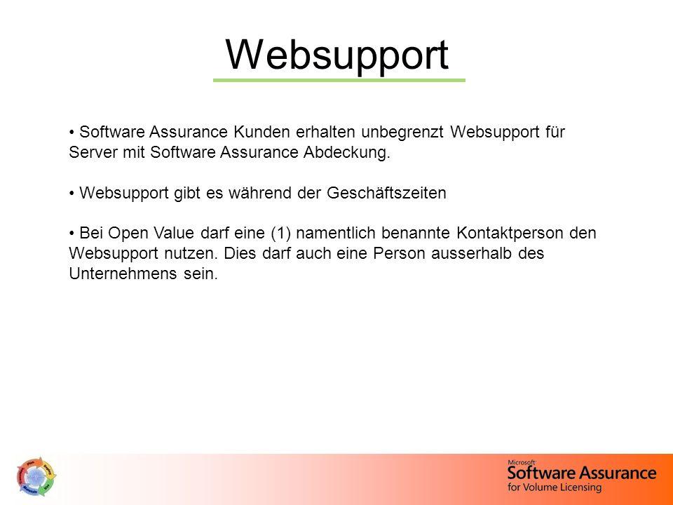 WebsupportSoftware Assurance Kunden erhalten unbegrenzt Websupport für Server mit Software Assurance Abdeckung.
