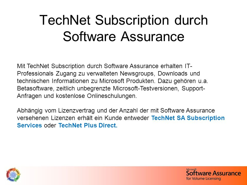 TechNet Subscription durch Software Assurance