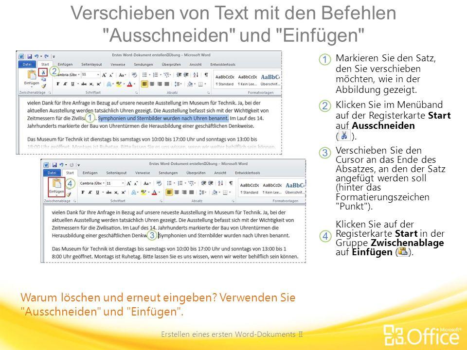 Verschieben von Text mit den Befehlen Ausschneiden und Einfügen