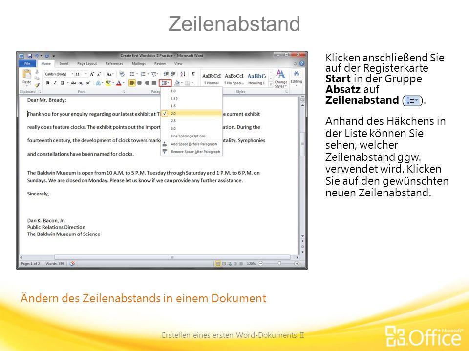 Erstellen eines ersten Word-Dokuments II
