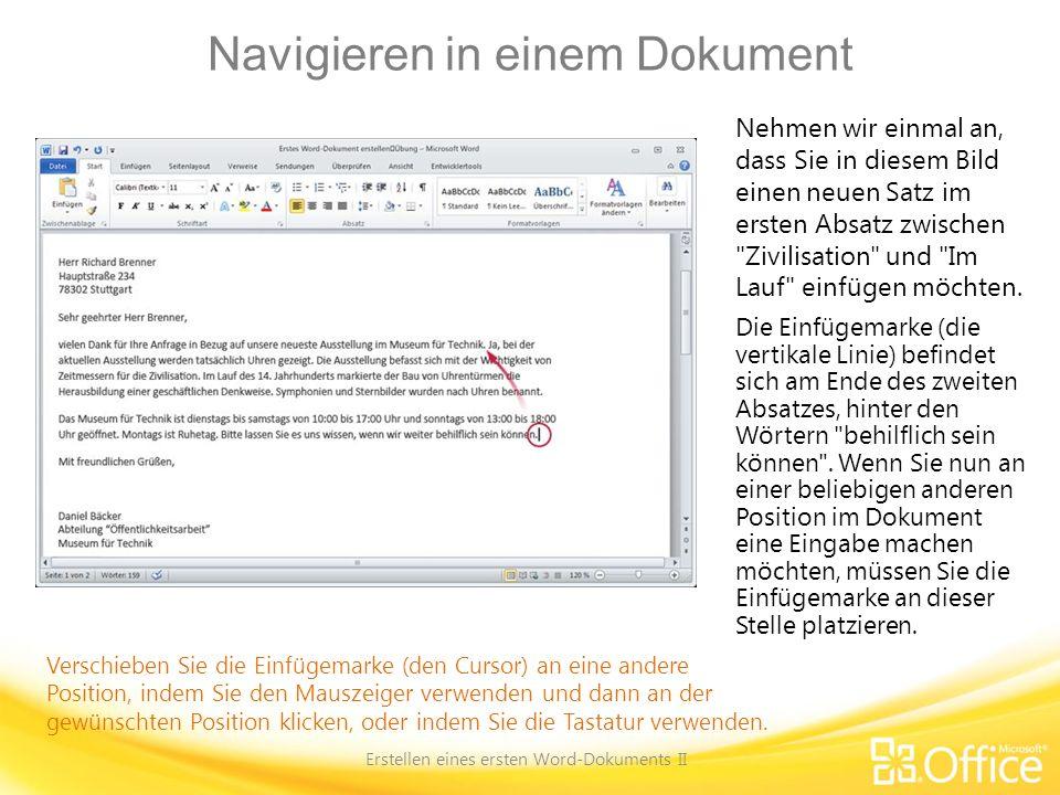 Navigieren in einem Dokument