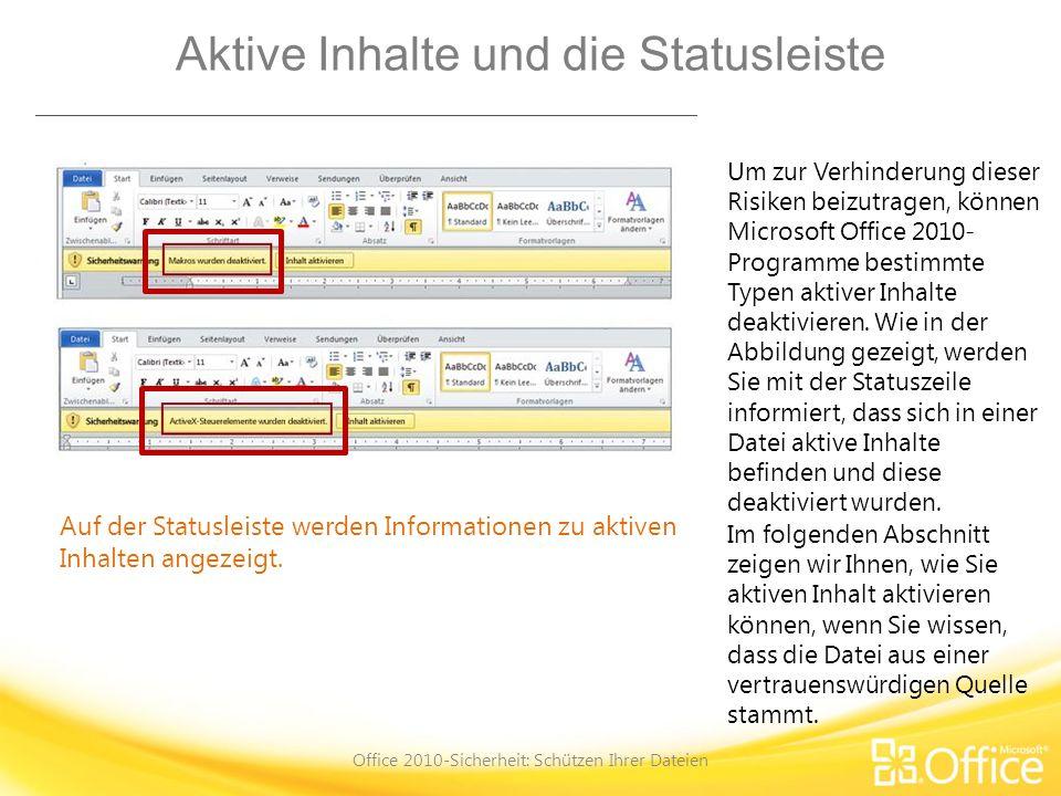 Aktive Inhalte und die Statusleiste