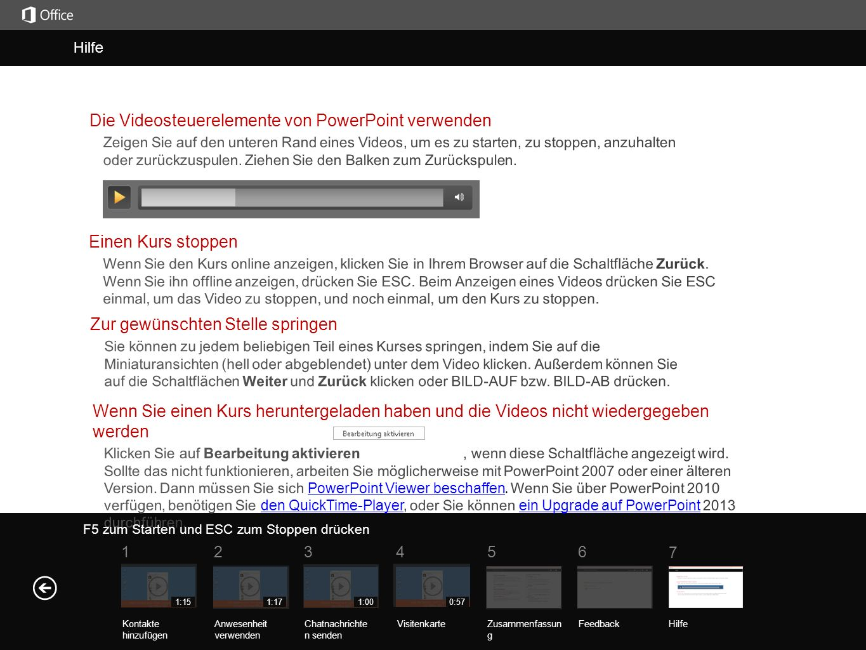 Hilfe Die Videosteuerelemente von PowerPoint verwenden