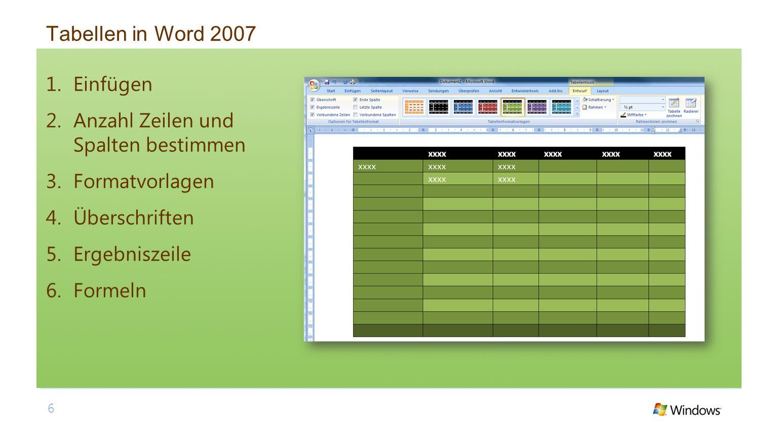 Tabellen in Word 2007 Einfügen Anzahl Zeilen und Spalten bestimmen