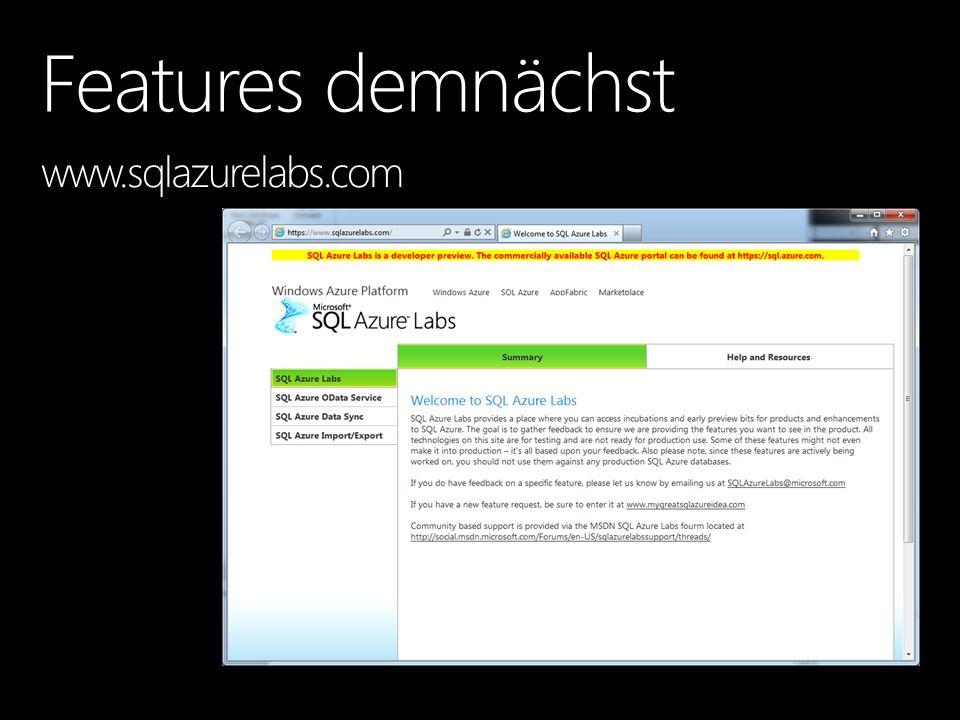 Features demnächst www.sqlazurelabs.com