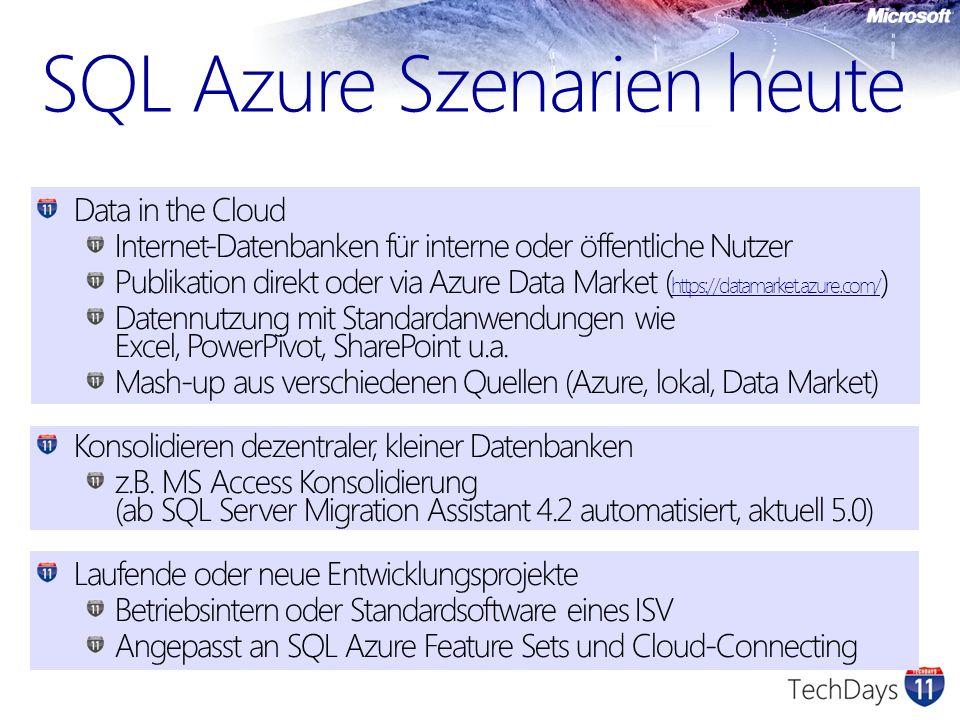 SQL Azure Szenarien heute