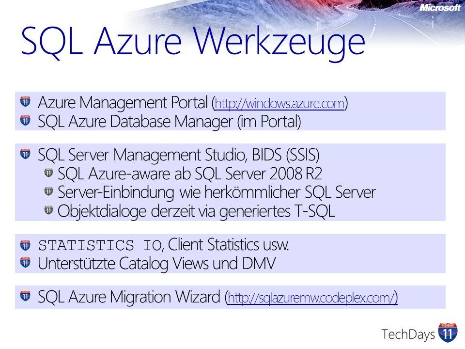 SQL Azure Werkzeuge Azure Management Portal (http://windows.azure.com)
