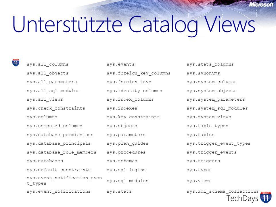 Unterstützte Catalog Views
