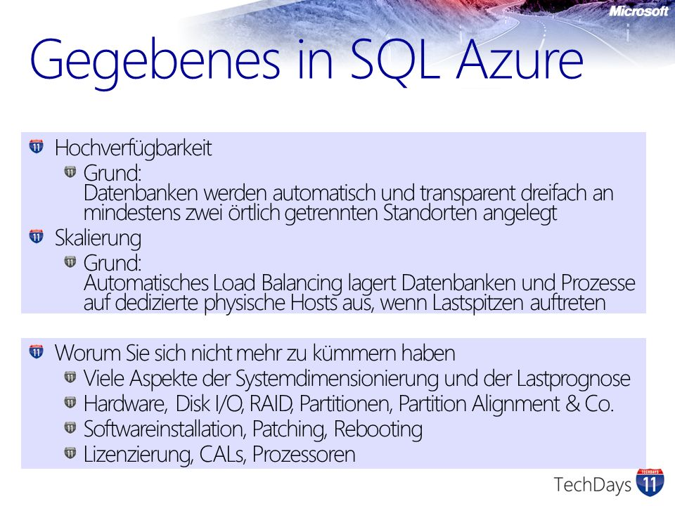 Gegebenes in SQL Azure Hochverfügbarkeit