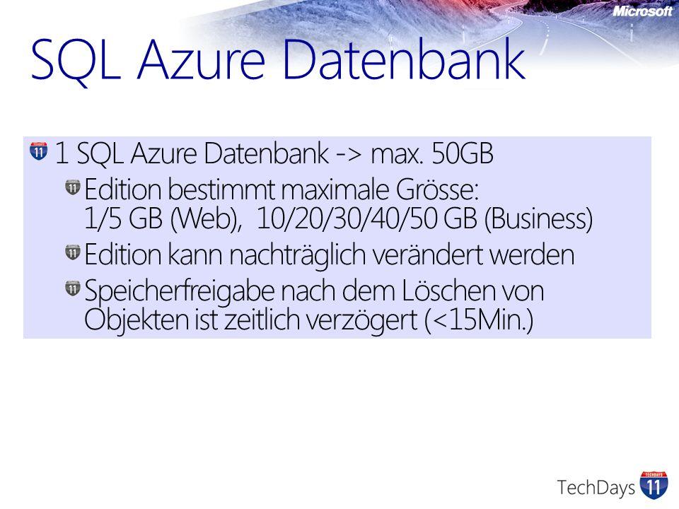 SQL Azure Datenbank 1 SQL Azure Datenbank -> max. 50GB