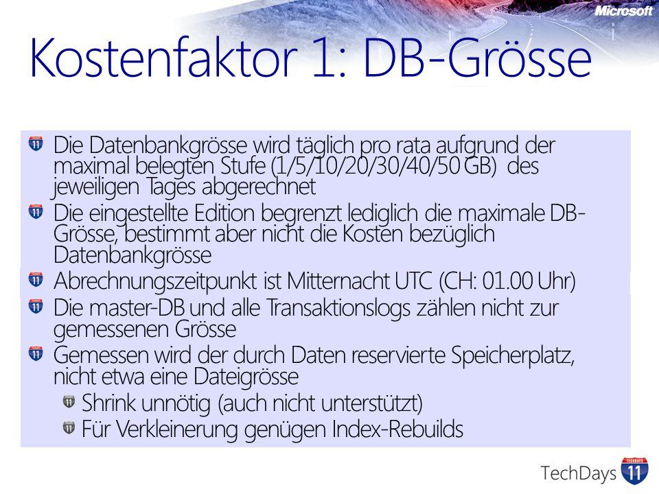 Kostenfaktor 1: DB-Grösse