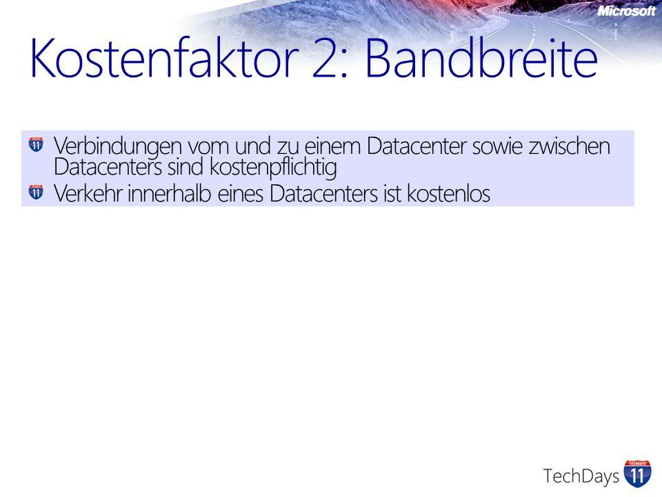 Kostenfaktor 2: Bandbreite