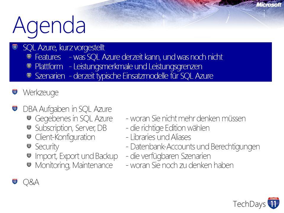 Agenda SQL Azure, kurz vorgestellt