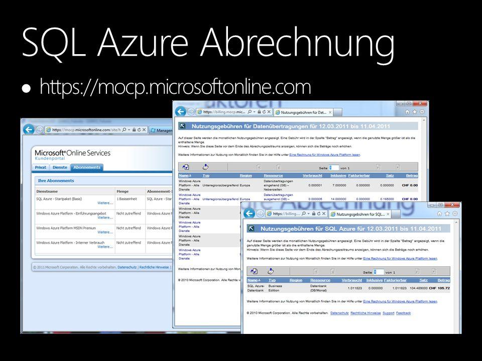 SQL Azure Abrechnung https://mocp.microsoftonline.com