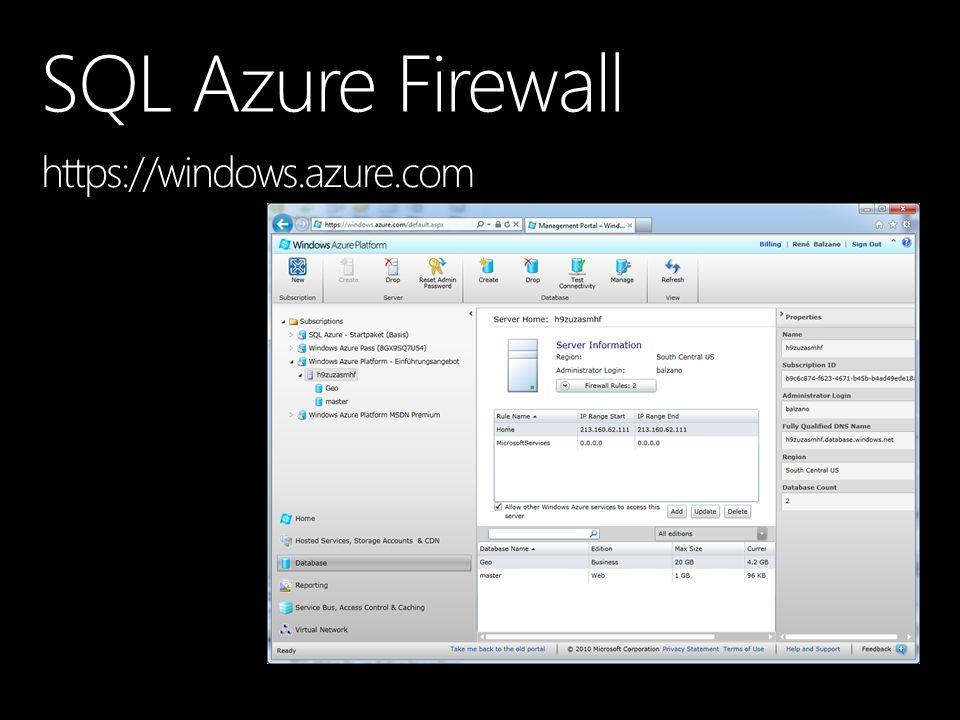 SQL Azure Firewall https://windows.azure.com