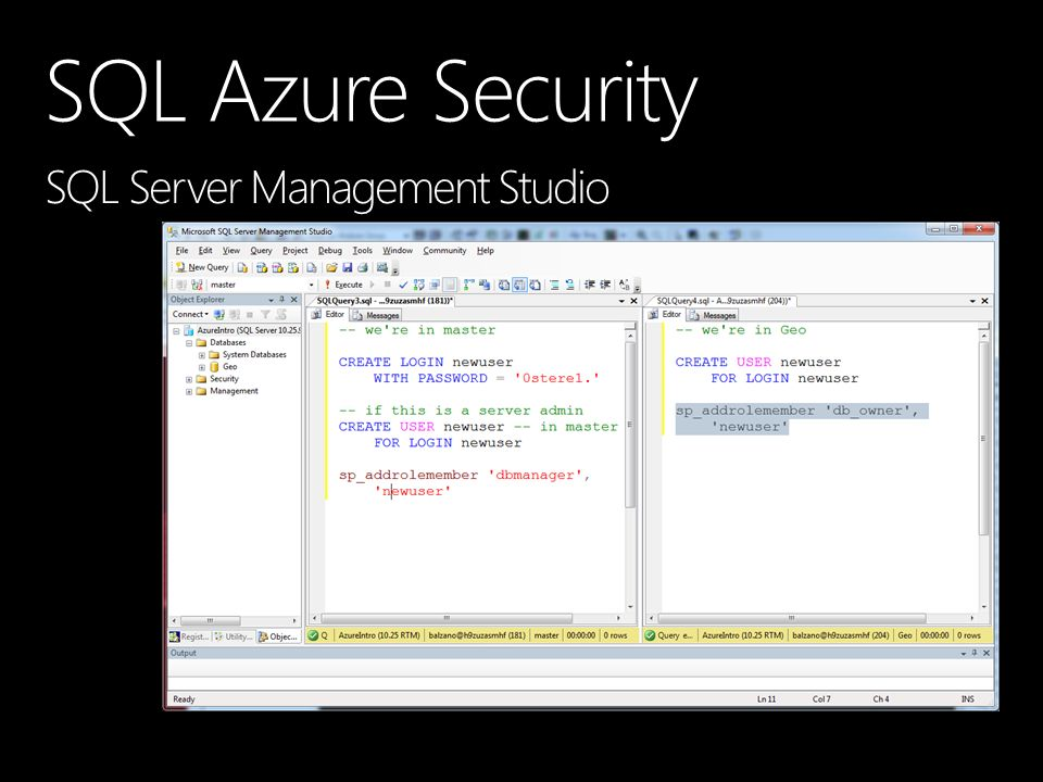 SQL Azure Security SQL Server Management Studio