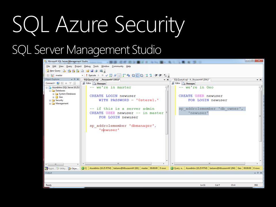 SQL Azure Security SQL Server Management Studio