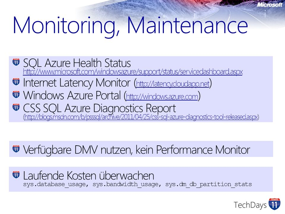 Monitoring, Maintenance