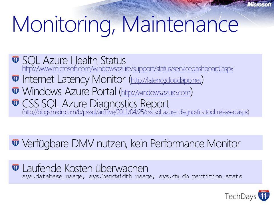 Monitoring, Maintenance