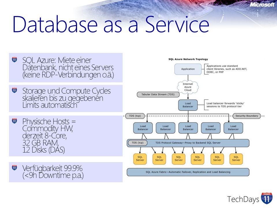 Database as a Service SQL Azure: Miete einer Datenbank, nicht eines Servers (keine RDP-Verbindungen o.ä.)