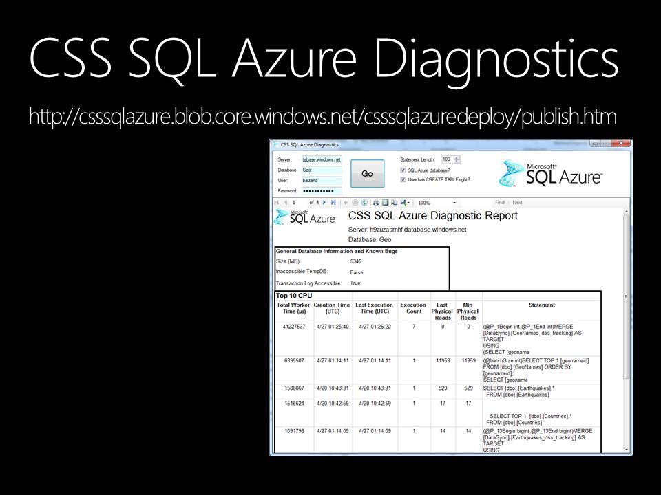 CSS SQL Azure Diagnostics