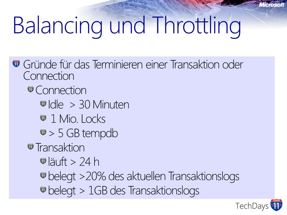 Balancing und Throttling