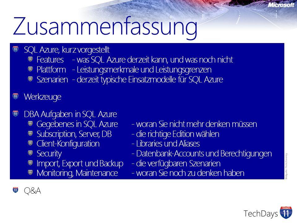 Zusammenfassung SQL Azure, kurz vorgestellt