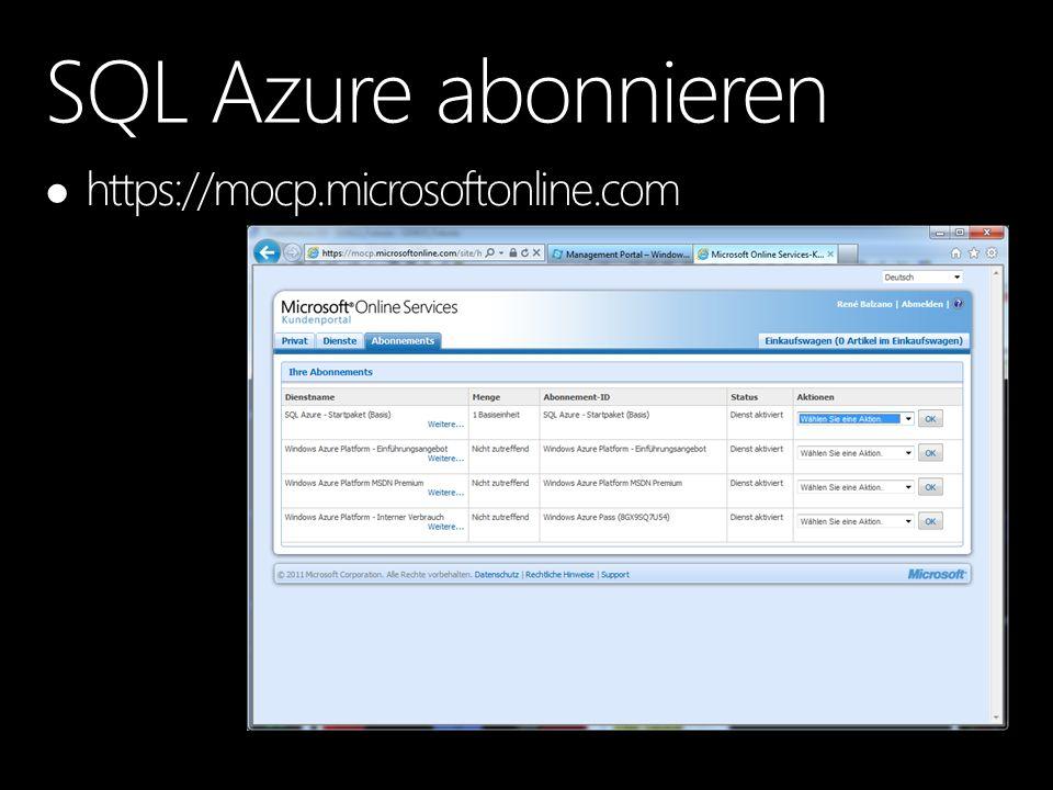 SQL Azure abonnieren https://mocp.microsoftonline.com