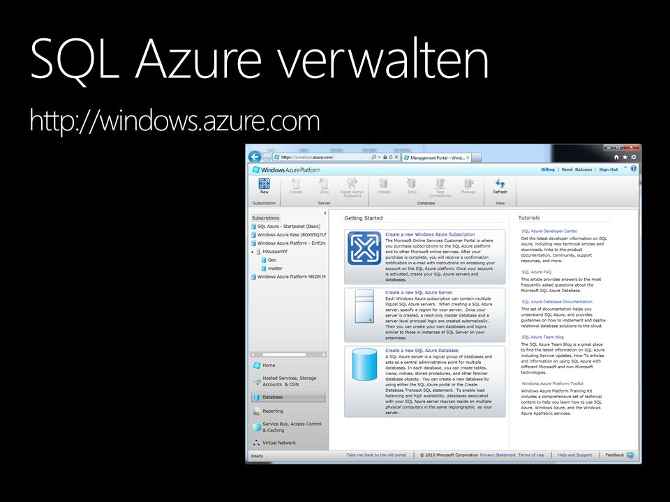 SQL Azure verwalten http://windows.azure.com