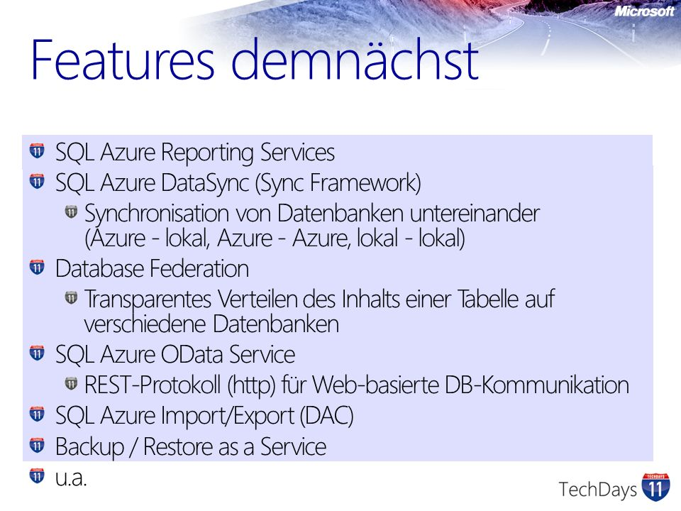 Features demnächst SQL Azure Reporting Services