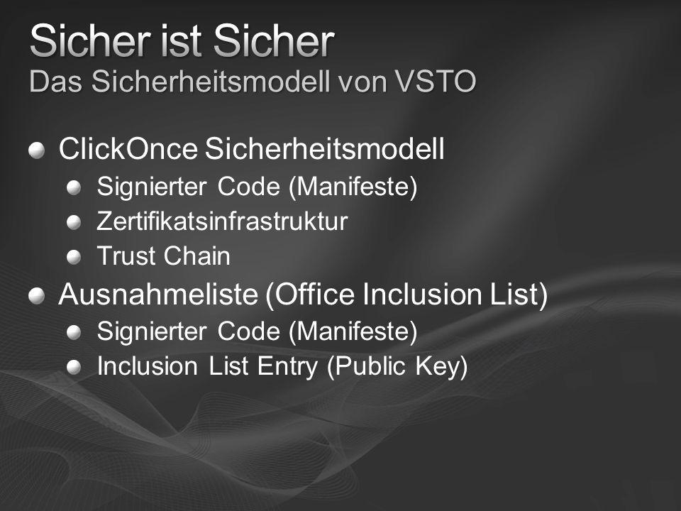 Sicher ist Sicher Das Sicherheitsmodell von VSTO