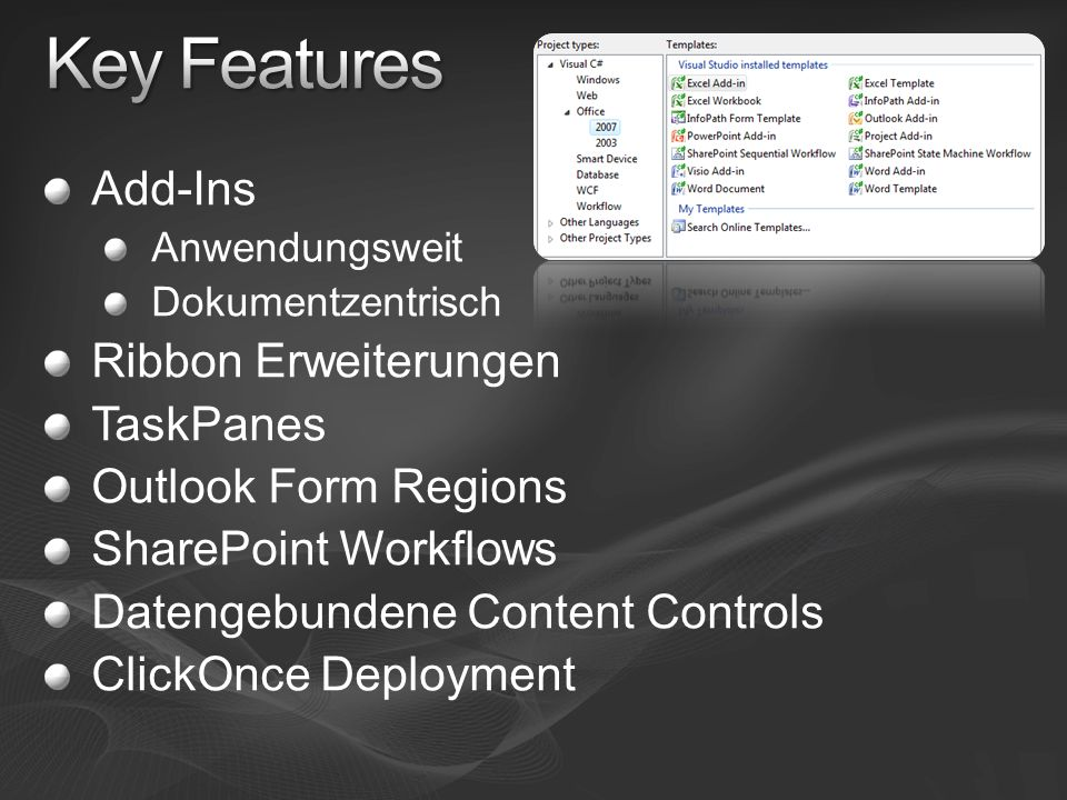 Key Features Add-Ins Ribbon Erweiterungen TaskPanes
