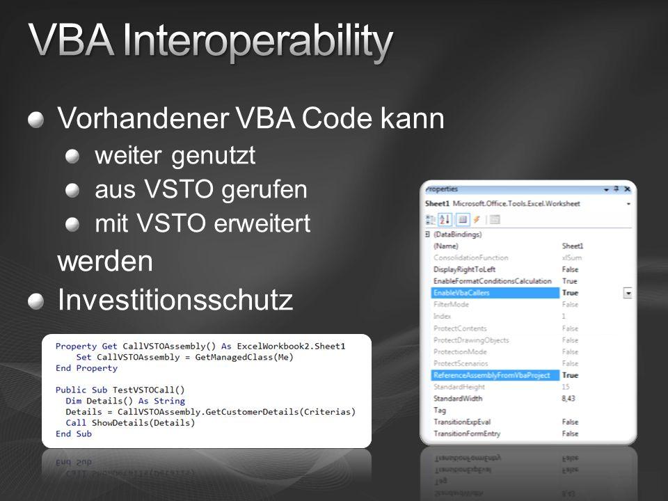 VBA Interoperability Vorhandener VBA Code kann werden