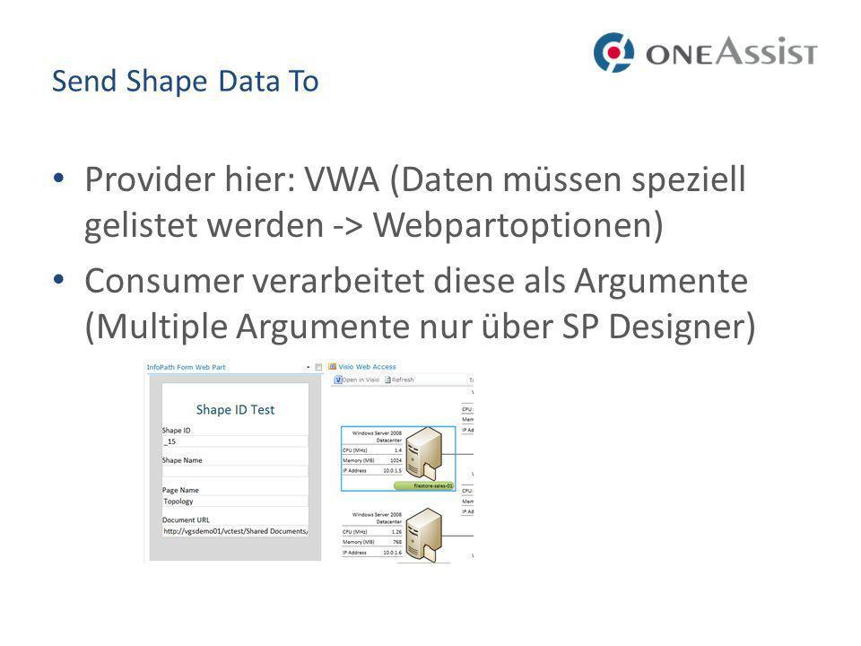 Send Shape Data To Provider hier: VWA (Daten müssen speziell gelistet werden -> Webpartoptionen)