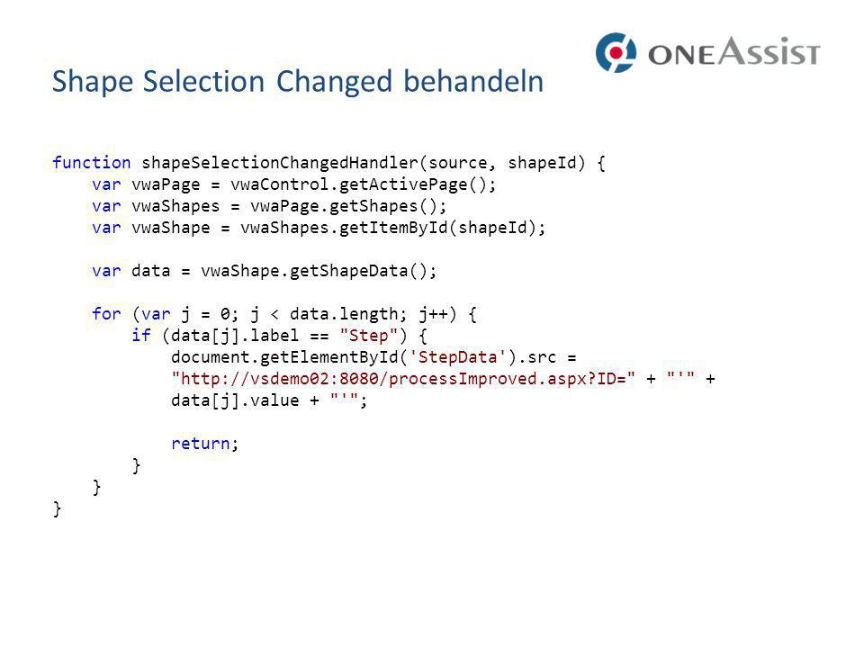 Shape Selection Changed behandeln