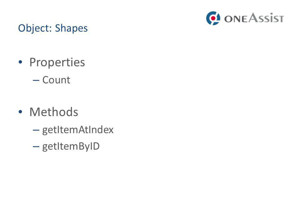 Object: Shapes Properties Count Methods getItemAtIndex getItemByID