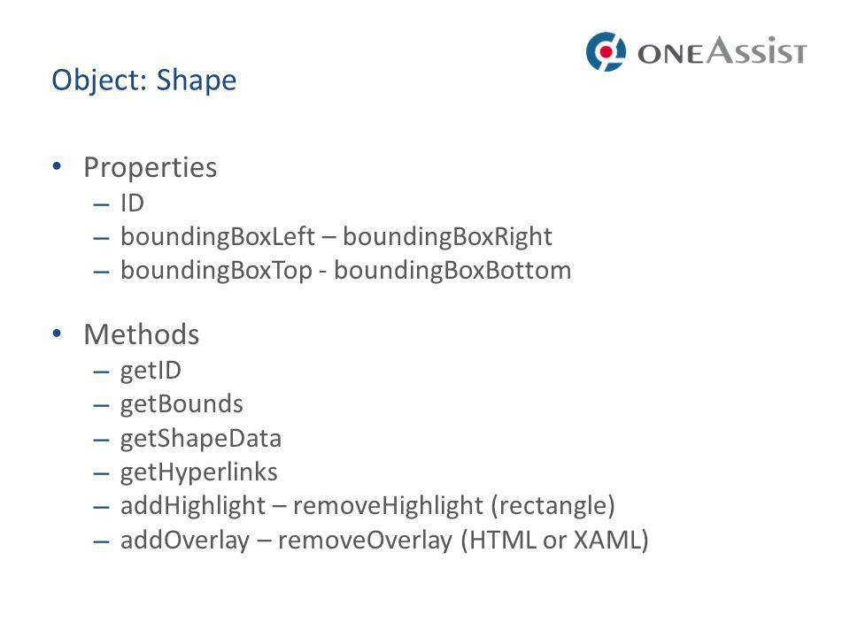 Object: Shape Properties Methods ID boundingBoxLeft – boundingBoxRight