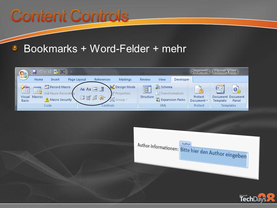 Content Controls Bookmarks + Word-Felder + mehr