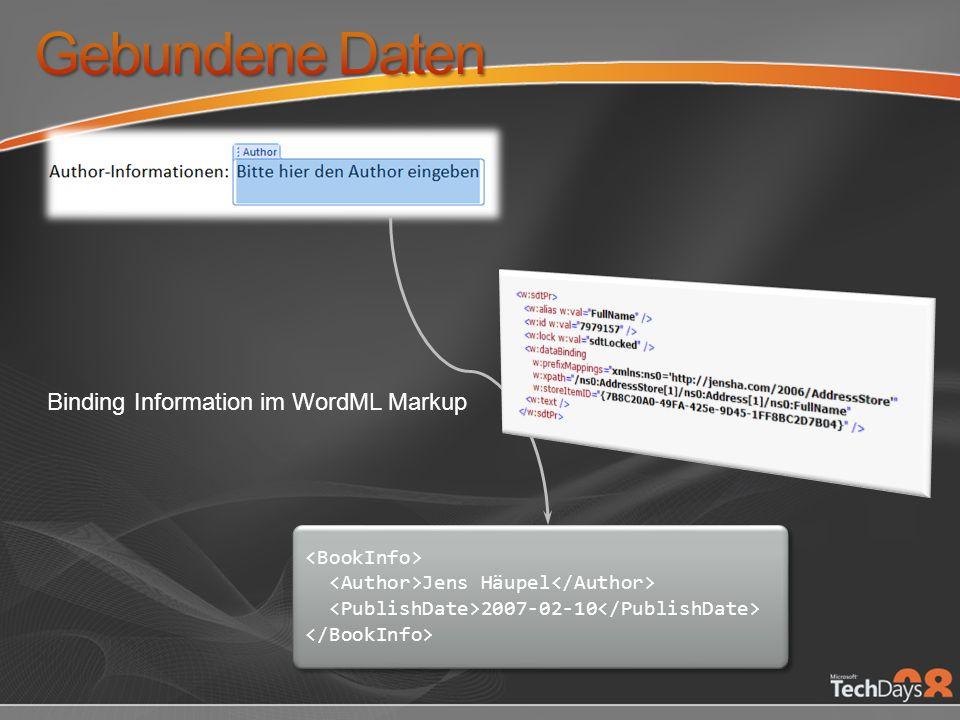 Gebundene Daten Binding Information im WordML Markup <BookInfo>